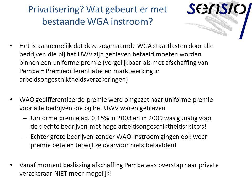Privatisering Wat gebeurt er met bestaande WGA instroom