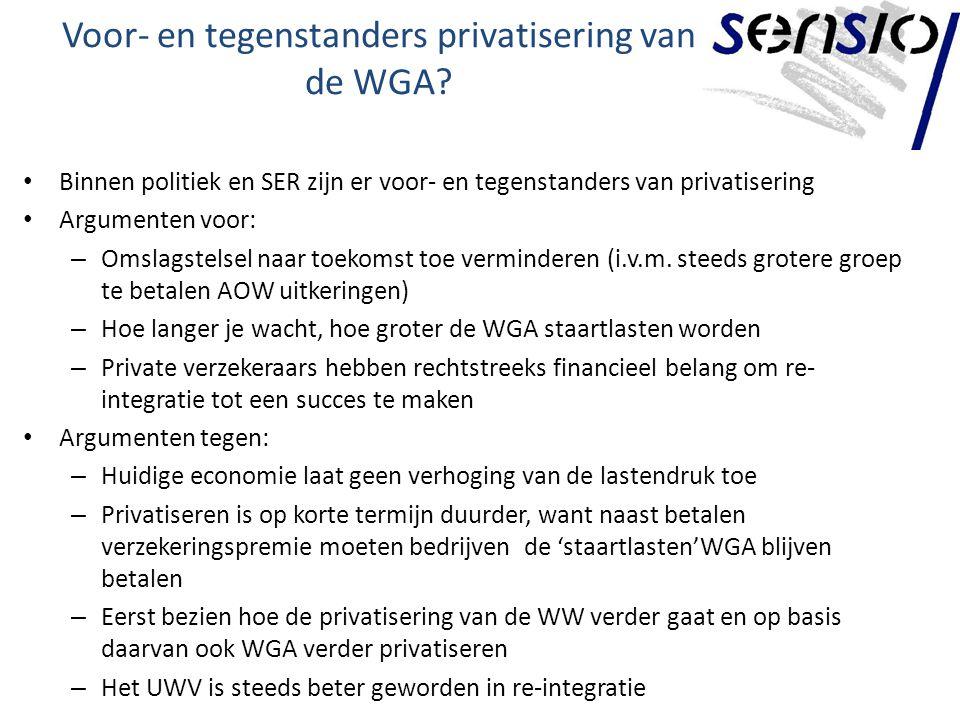Voor- en tegenstanders privatisering van de WGA