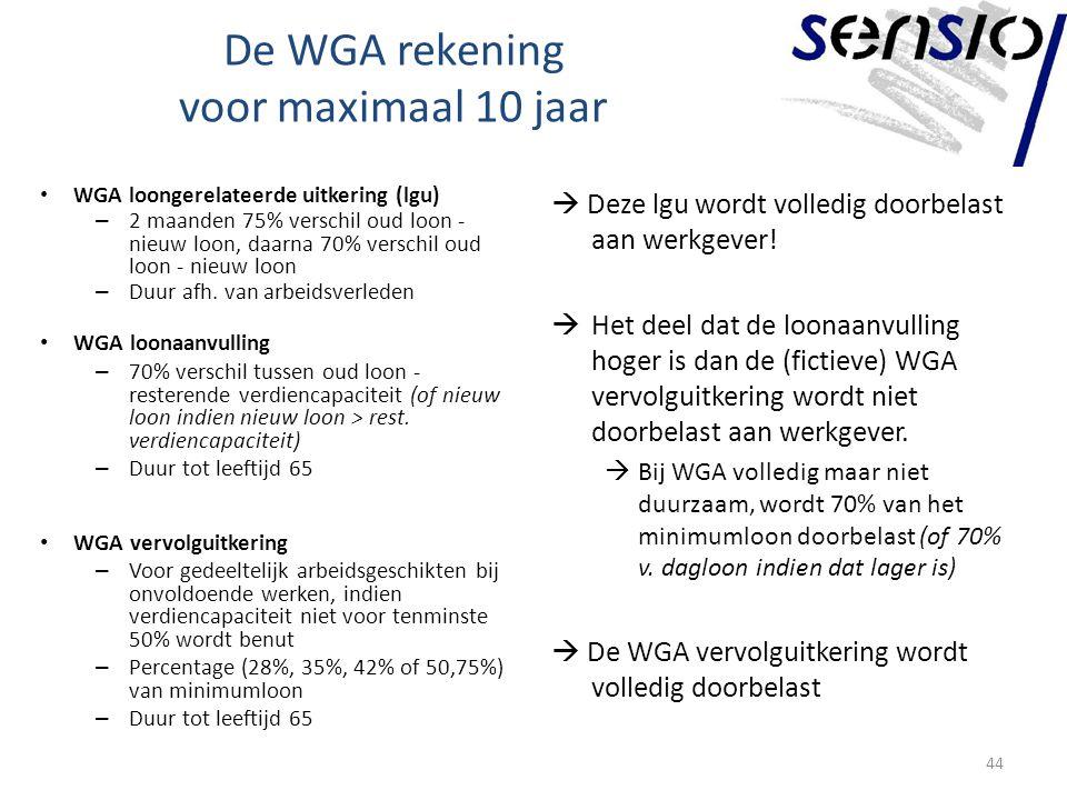 De WGA rekening voor maximaal 10 jaar