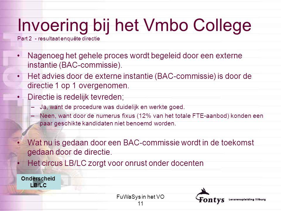 Invoering bij het Vmbo College Part 2 - resultaat enquête directie
