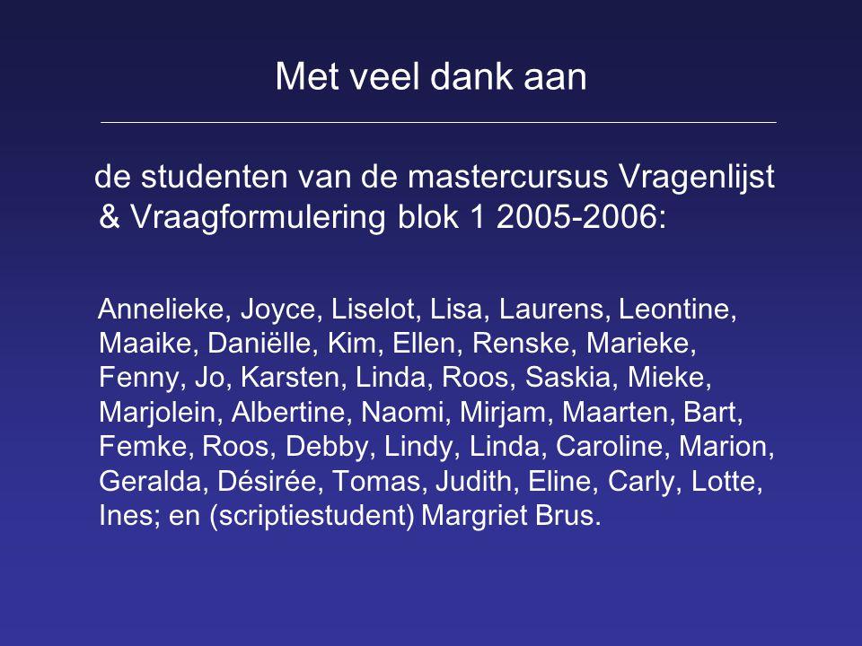Met veel dank aan de studenten van de mastercursus Vragenlijst & Vraagformulering blok 1 2005-2006:
