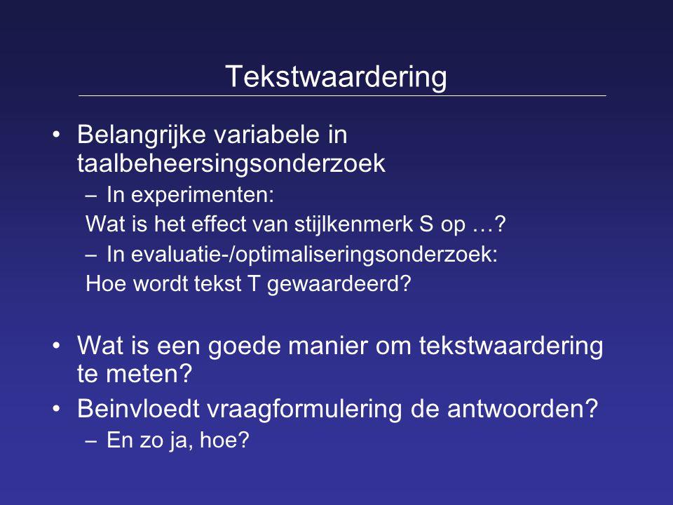 Tekstwaardering Belangrijke variabele in taalbeheersingsonderzoek