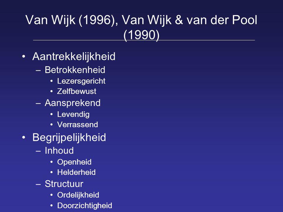 Van Wijk (1996), Van Wijk & van der Pool (1990)