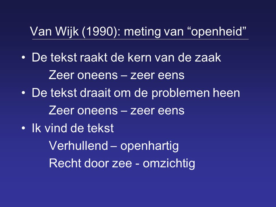 Van Wijk (1990): meting van openheid