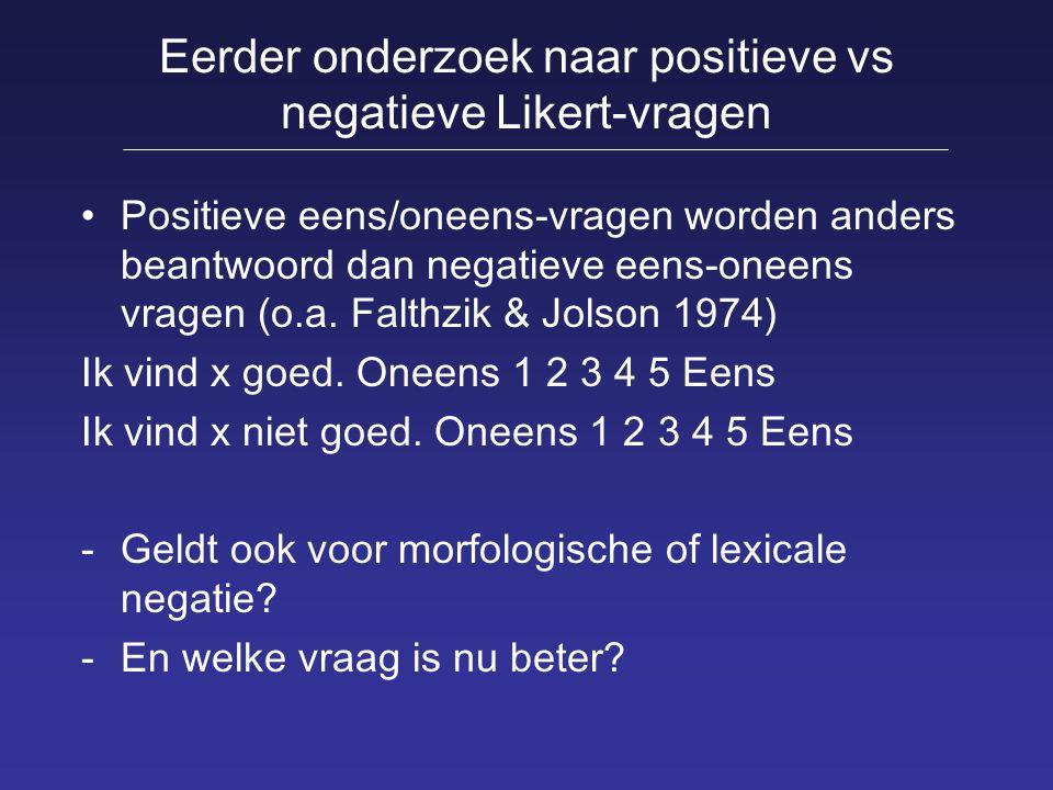 Eerder onderzoek naar positieve vs negatieve Likert-vragen