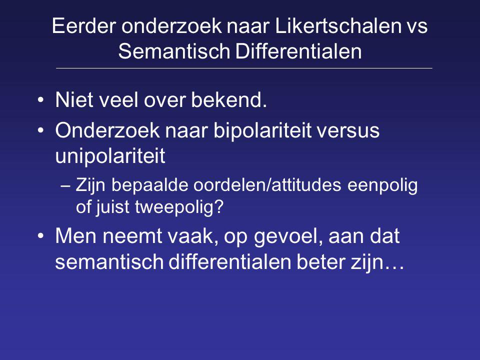 Eerder onderzoek naar Likertschalen vs Semantisch Differentialen