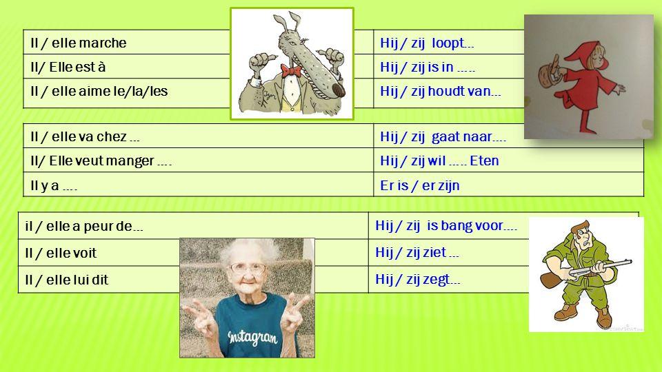 Il / elle marche Hij / zij loopt… Il/ Elle est à. Hij / zij is in ….. Il / elle aime le/la/les.