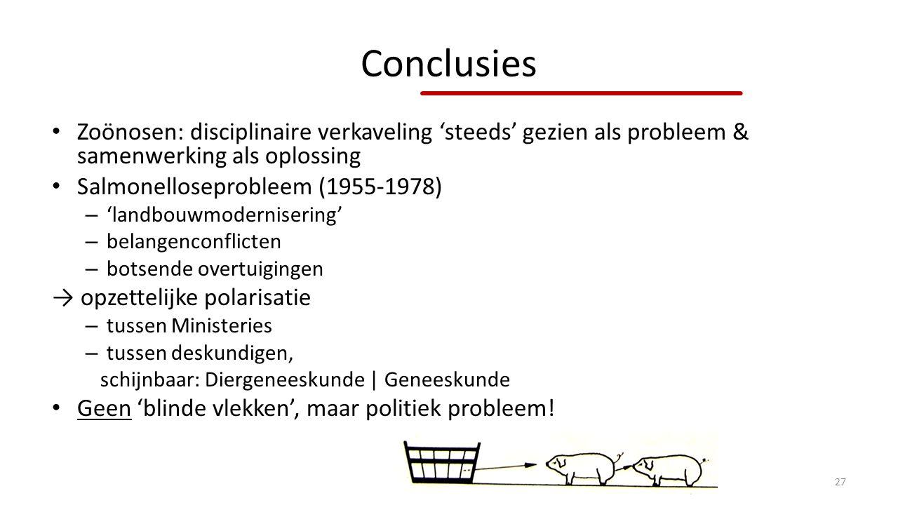 Conclusies Zoönosen: disciplinaire verkaveling 'steeds' gezien als probleem & samenwerking als oplossing.