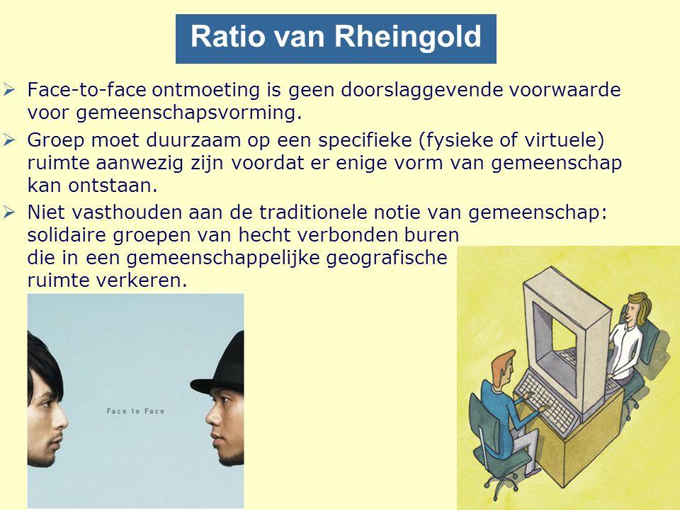 Ratio van Rheingold Face-to-face ontmoeting is geen doorslaggevende voorwaarde voor gemeenschapsvorming.