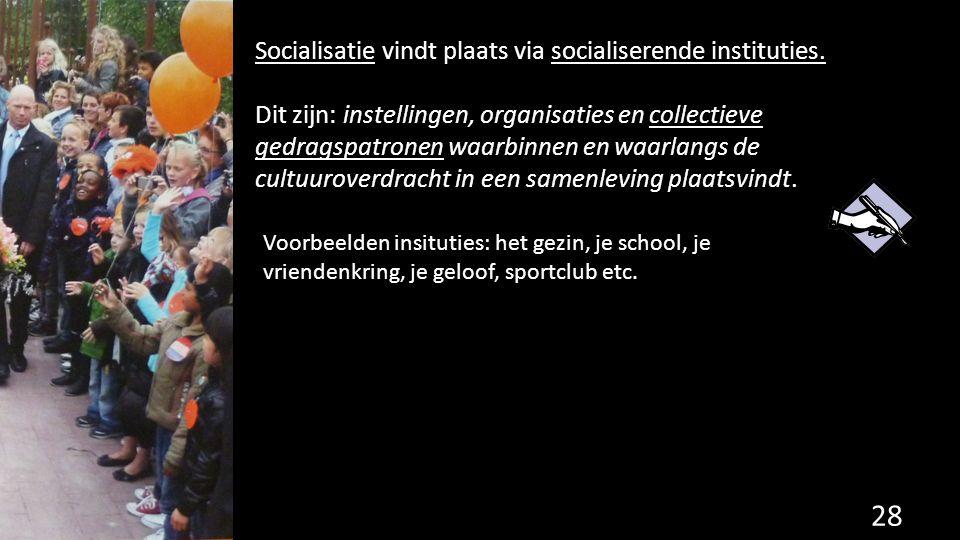 Socialisatie vindt plaats via socialiserende instituties.