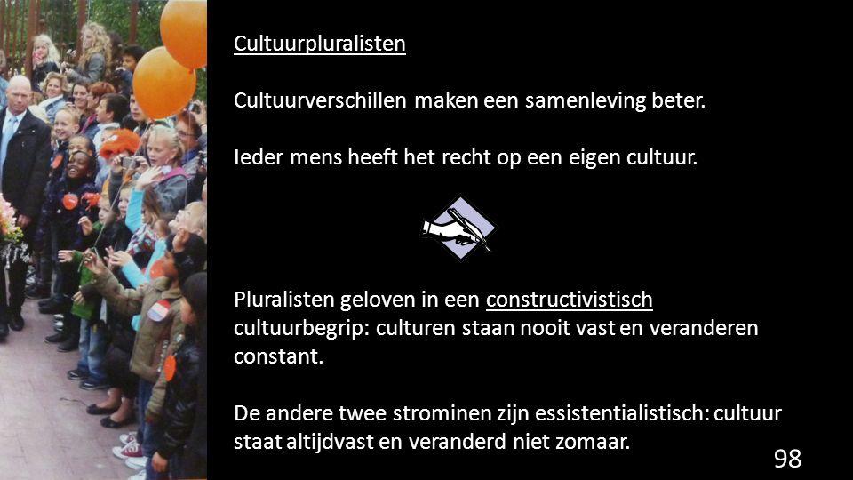 Cultuurpluralisten Cultuurverschillen maken een samenleving beter. Ieder mens heeft het recht op een eigen cultuur.