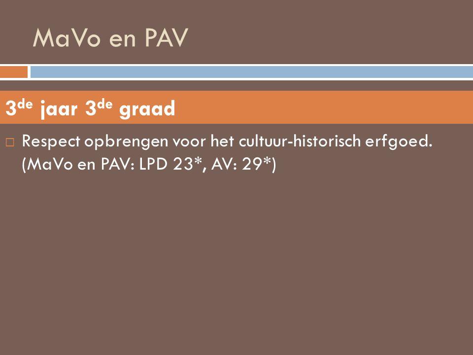 MaVo en PAV 3de jaar 3de graad