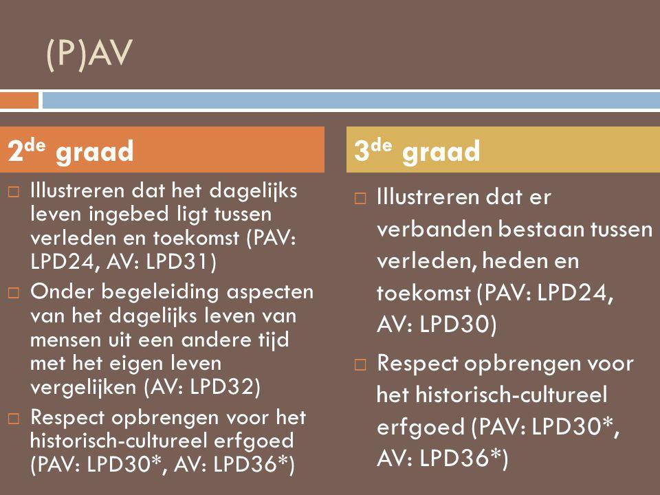 (P)AV 2de graad. 3de graad. Illustreren dat het dagelijks leven ingebed ligt tussen verleden en toekomst (PAV: LPD24, AV: LPD31)