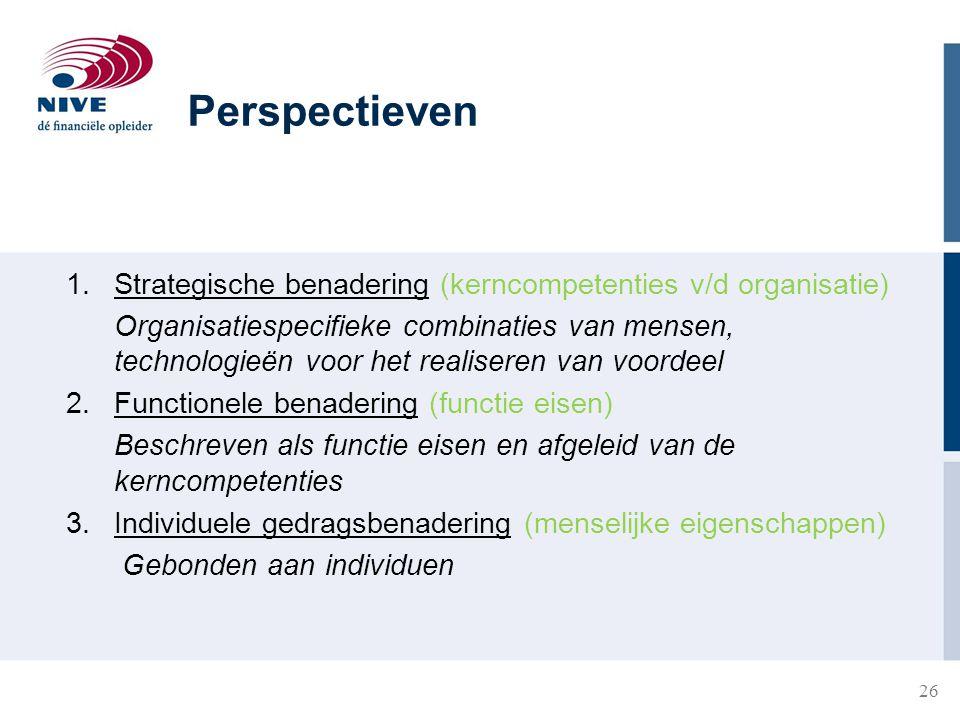 Perspectieven Strategische benadering (kerncompetenties v/d organisatie)