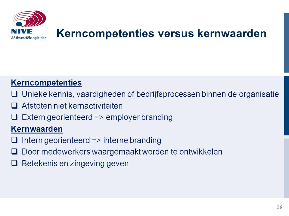 Kerncompetenties versus kernwaarden