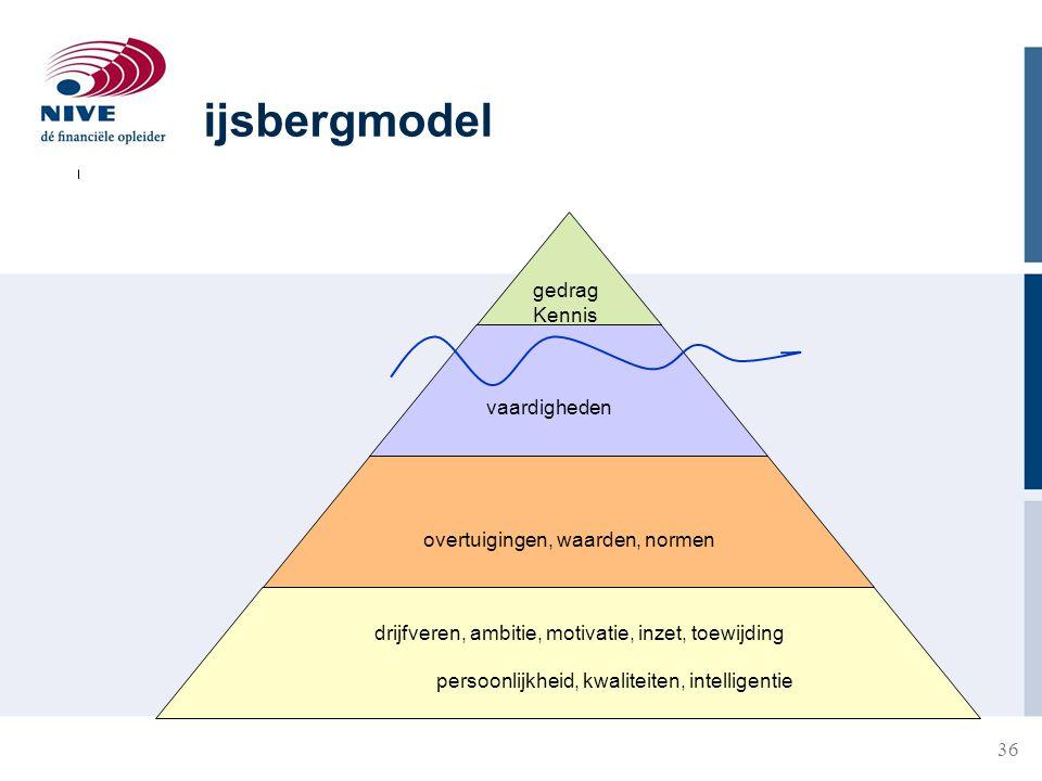 ijsbergmodel gedrag Kennis vaardigheden overtuigingen, waarden, normen