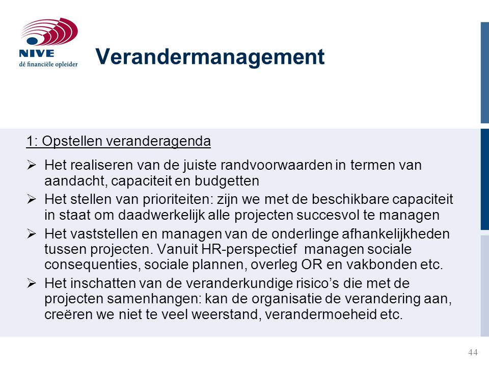 Verandermanagement 1: Opstellen veranderagenda