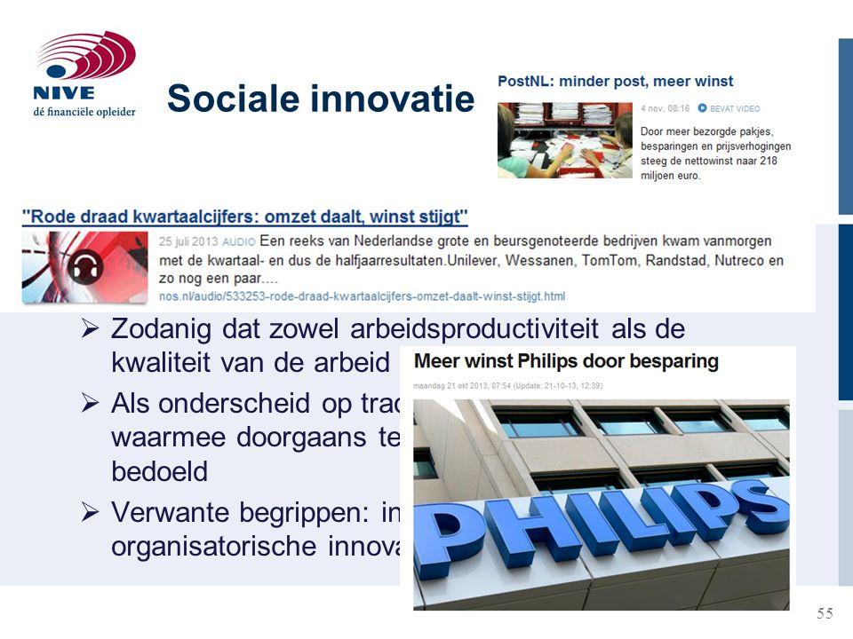 Sociale innovatie Betreft vernieuwing van de wijze waarop werk in een onderneming is georganiseerd.