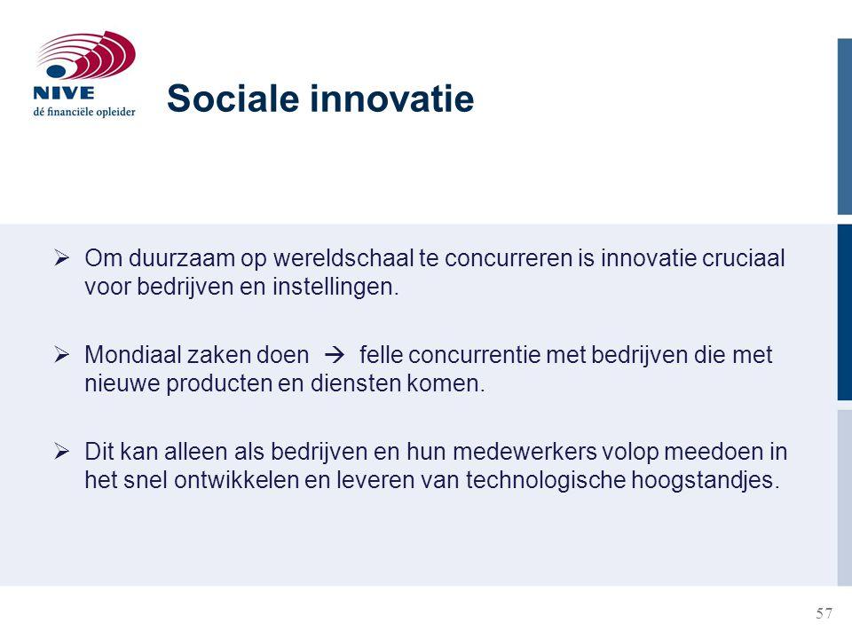 Sociale innovatie Om duurzaam op wereldschaal te concurreren is innovatie cruciaal voor bedrijven en instellingen.