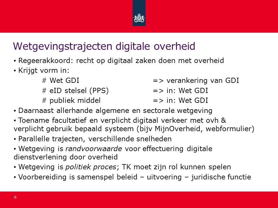 Wetgevingstrajecten digitale overheid