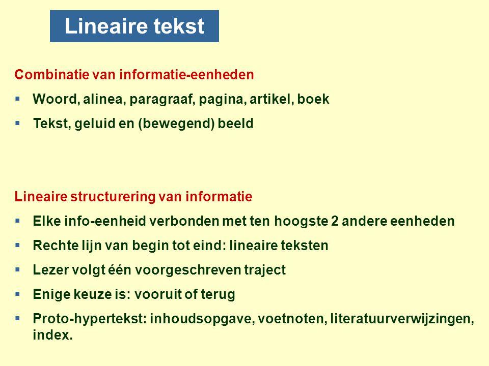 Lineaire tekst Combinatie van informatie-eenheden