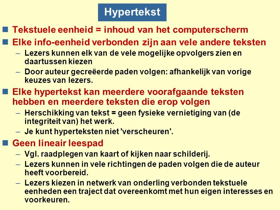 Hypertekst Tekstuele eenheid = inhoud van het computerscherm