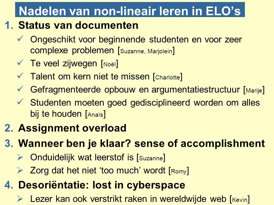 Nadelen van non-lineair leren in ELO's