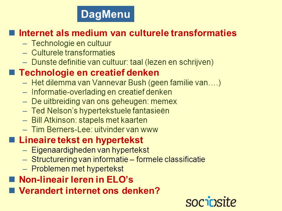 DagMenu Internet als medium van culturele transformaties