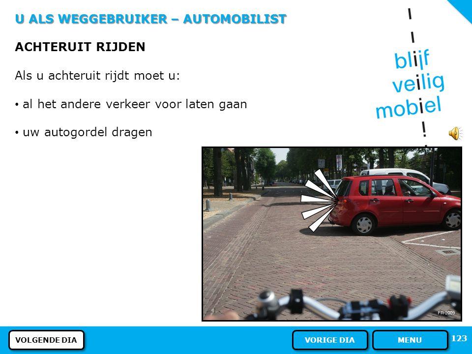 U ALS WEGGEBRUIKER – AUTOMOBILIST ACHTERUIT RIJDEN
