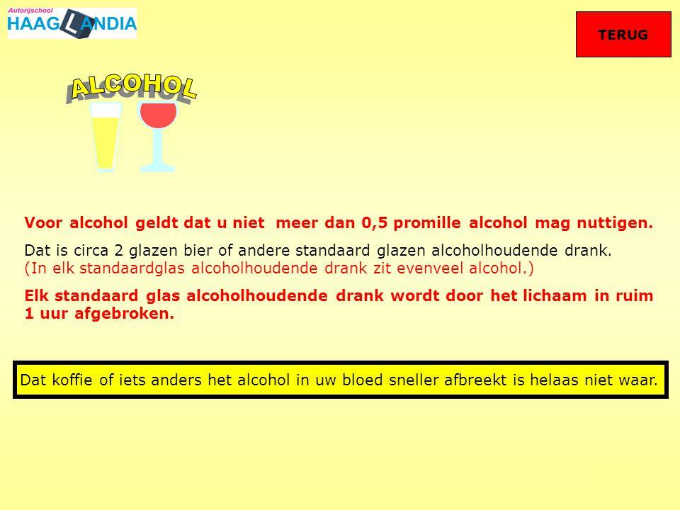 TERUG ALCOHOL. Voor alcohol geldt dat u niet meer dan 0,5 promille alcohol mag nuttigen.