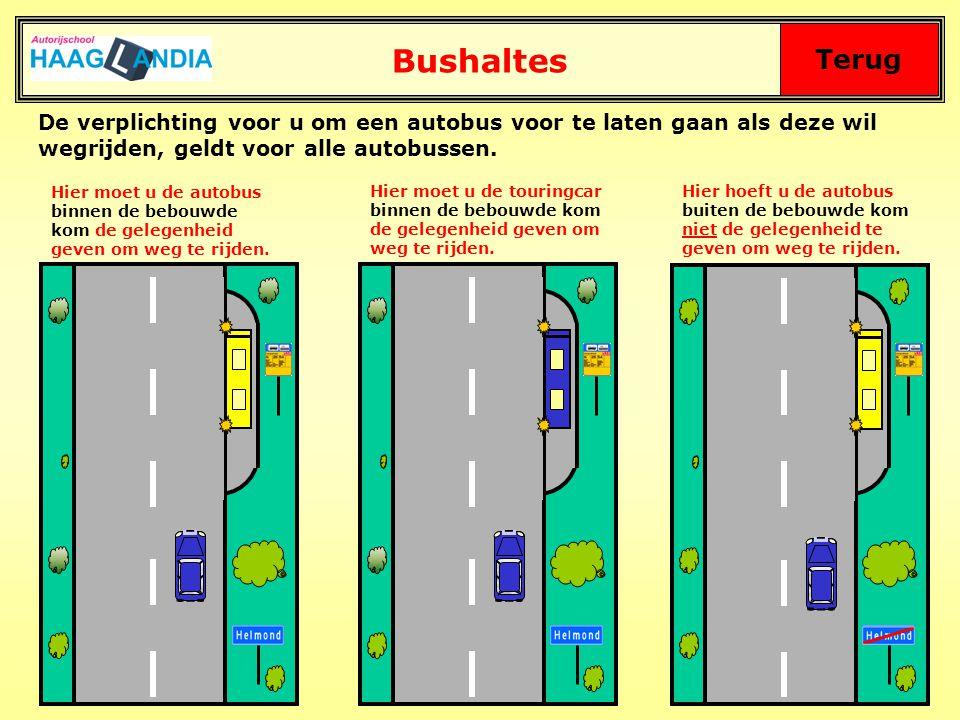 Bushaltes Terug. De verplichting voor u om een autobus voor te laten gaan als deze wil wegrijden, geldt voor alle autobussen.