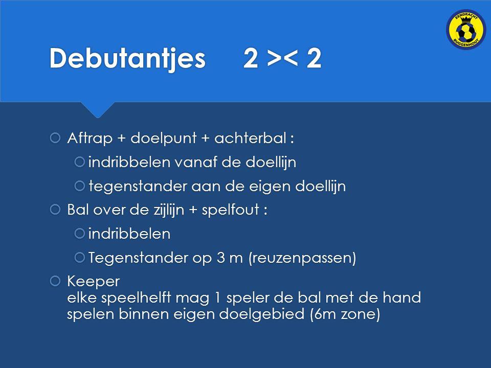 Debutantjes 2 >< 2 Aftrap + doelpunt + achterbal :