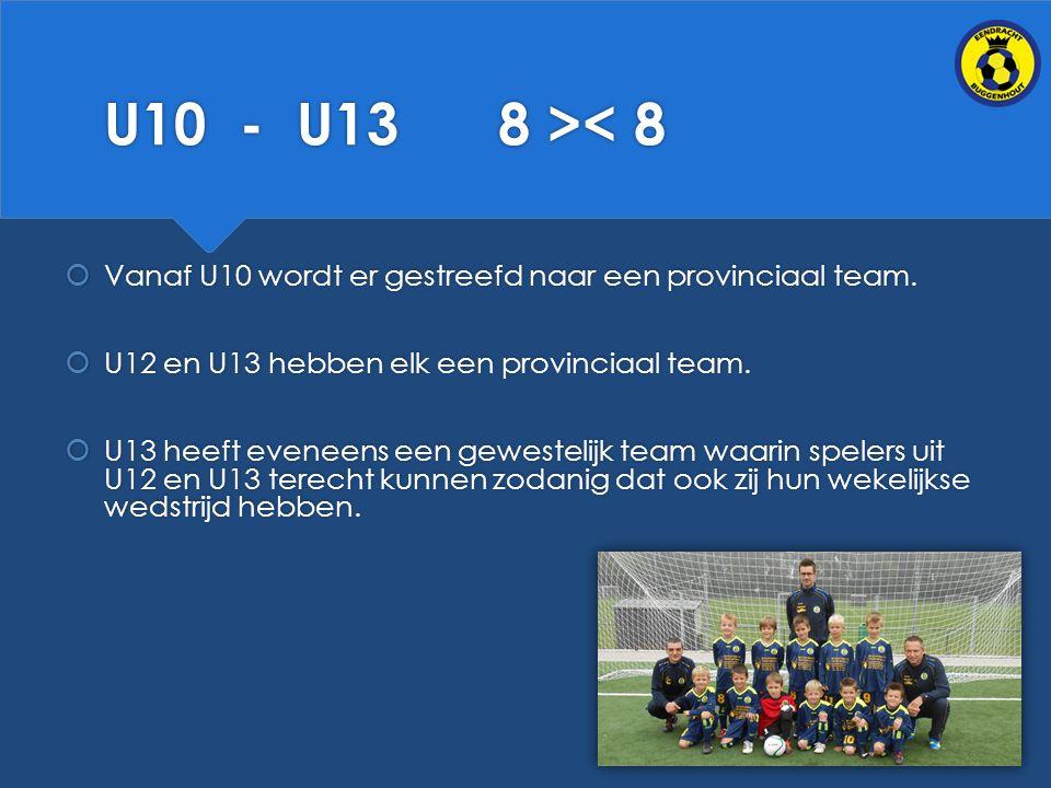 U10 - U13 8 >< 8 Vanaf U10 wordt er gestreefd naar een provinciaal team. U12 en U13 hebben elk een provinciaal team.