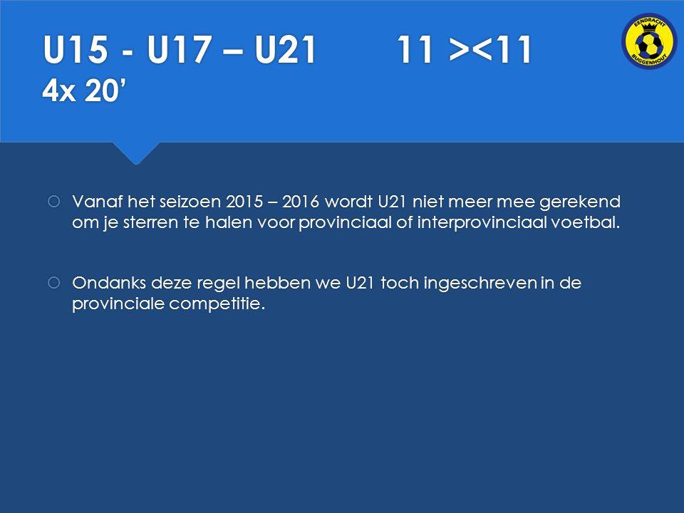 U15 - U17 – U21 11 ><11 4x 20'
