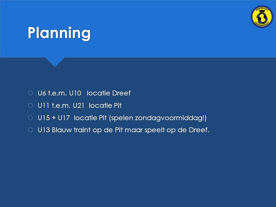 Planning U6 t.e.m. U10 locatie Dreef U11 t.e.m. U21 locatie Pit