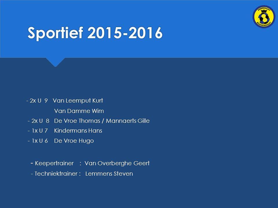 Sportief 2015-2016 - 2x U 9 Van Leemput Kurt