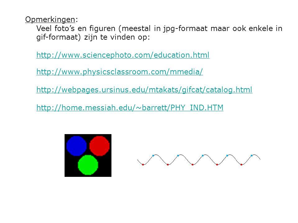 Opmerkingen: Veel foto's en figuren (meestal in jpg-formaat maar ook enkele in gif-formaat) zijn te vinden op: http://www.sciencephoto.com/education.html http://www.physicsclassroom.com/mmedia/