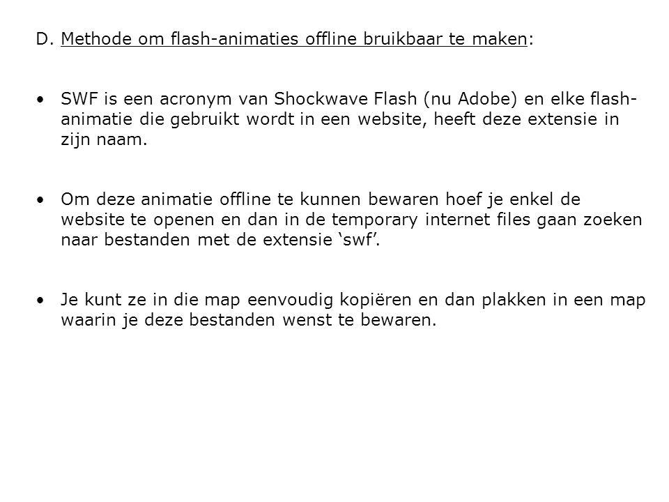 Methode om flash-animaties offline bruikbaar te maken: