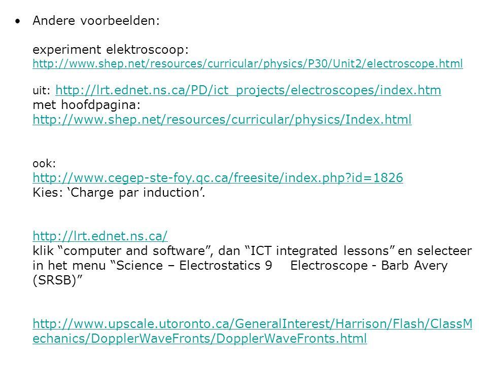 Andere voorbeelden: experiment elektroscoop: http://www. shep
