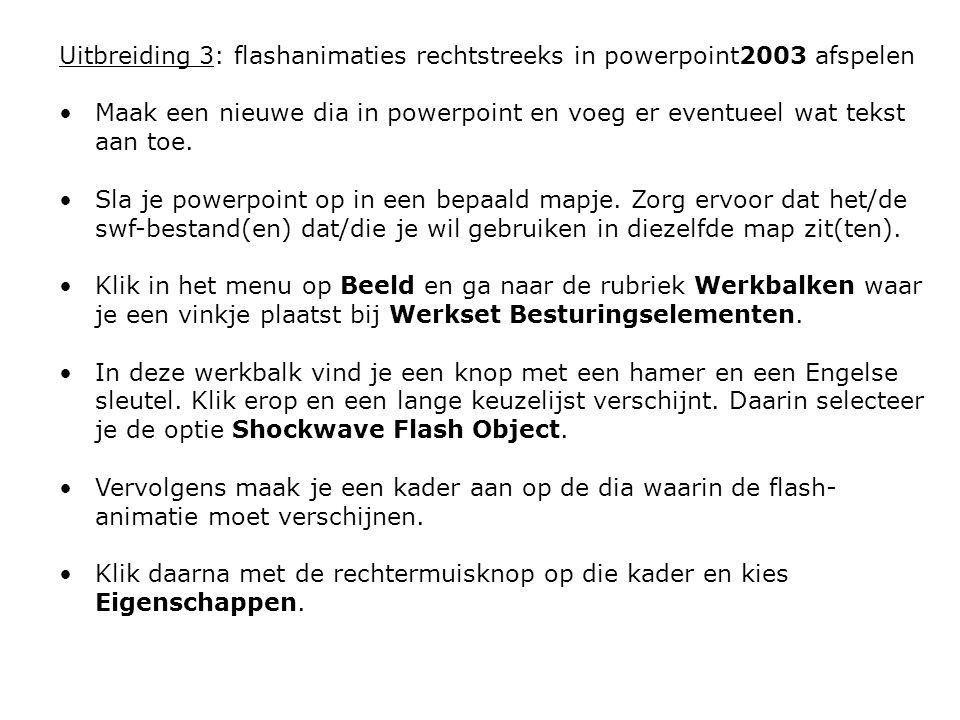 Uitbreiding 3: flashanimaties rechtstreeks in powerpoint2003 afspelen