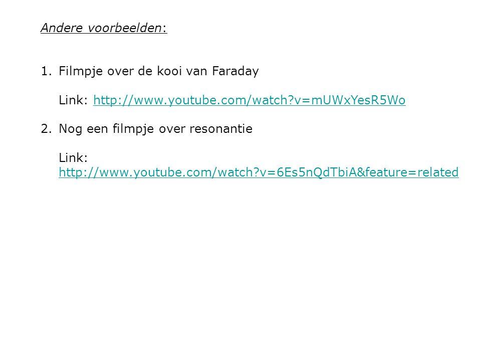 Andere voorbeelden: Filmpje over de kooi van Faraday Link: http://www.youtube.com/watch v=mUWxYesR5Wo.