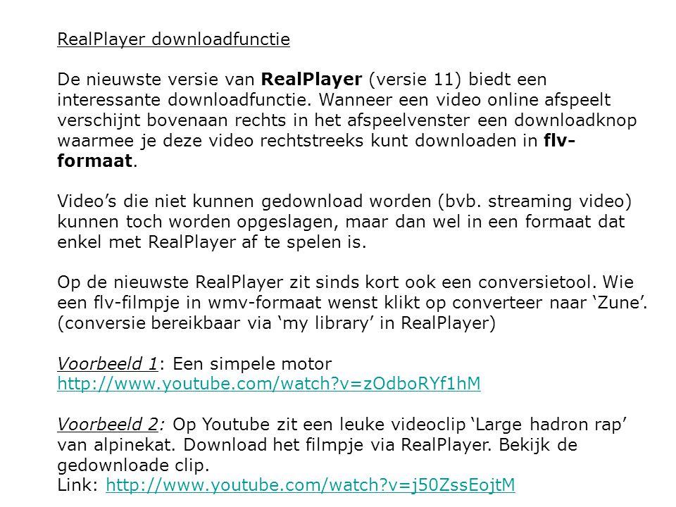 RealPlayer downloadfunctie