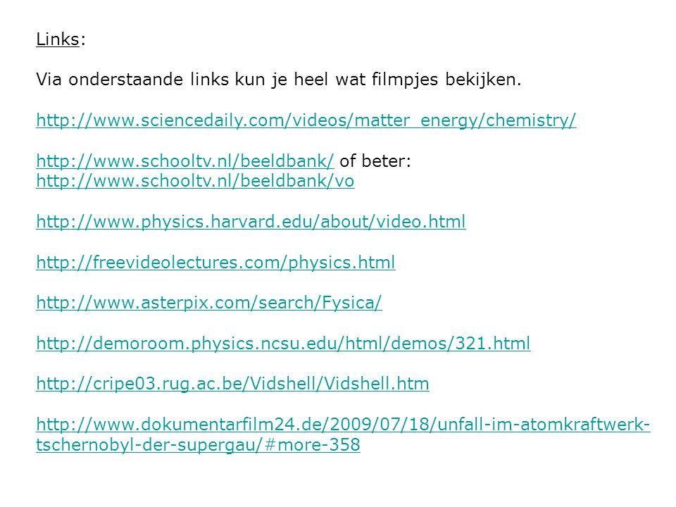 Links: Via onderstaande links kun je heel wat filmpjes bekijken. http://www.sciencedaily.com/videos/matter_energy/chemistry/