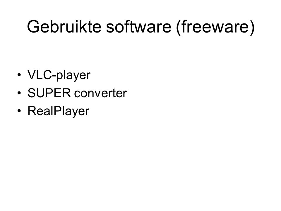 Gebruikte software (freeware)