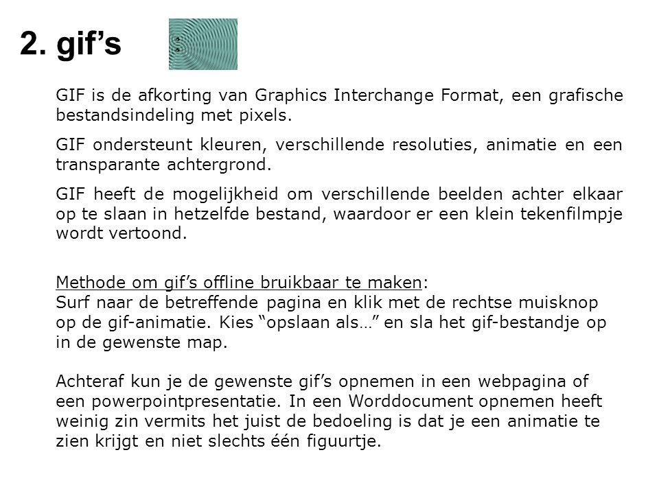 2. gif's GIF is de afkorting van Graphics Interchange Format, een grafische bestandsindeling met pixels.
