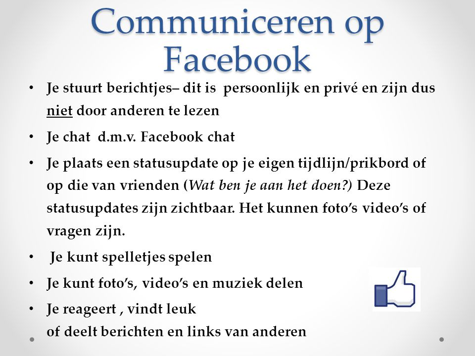 Communiceren op Facebook