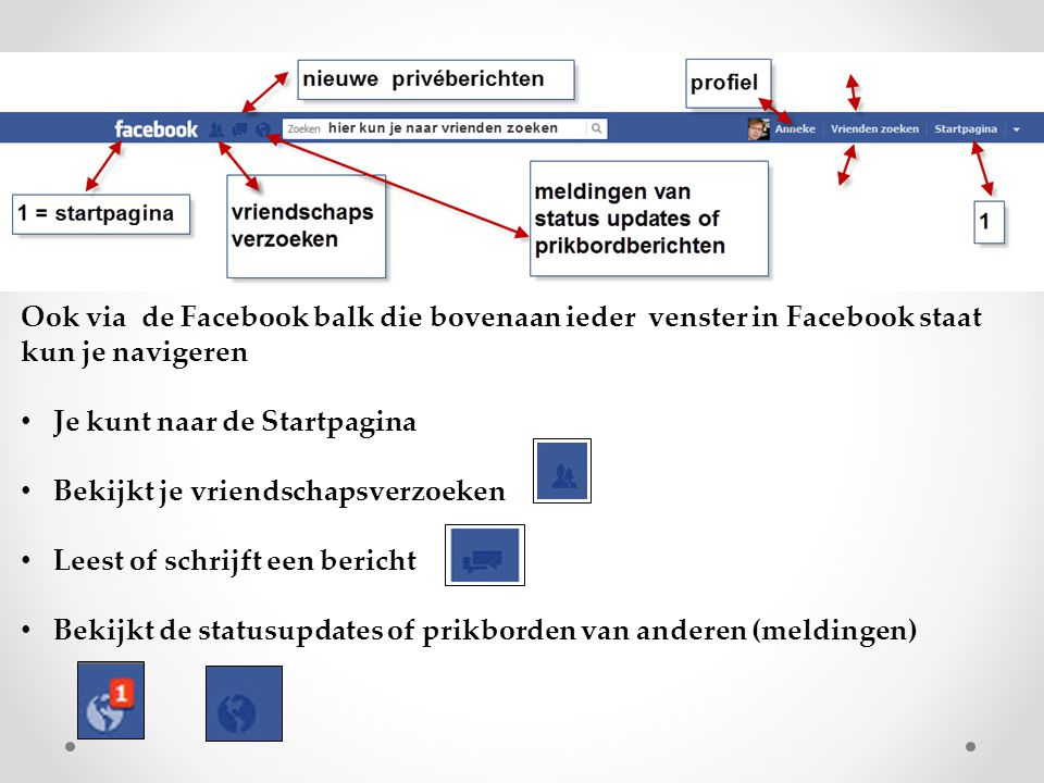 Ook via de Facebook balk die bovenaan ieder venster in Facebook staat kun je navigeren