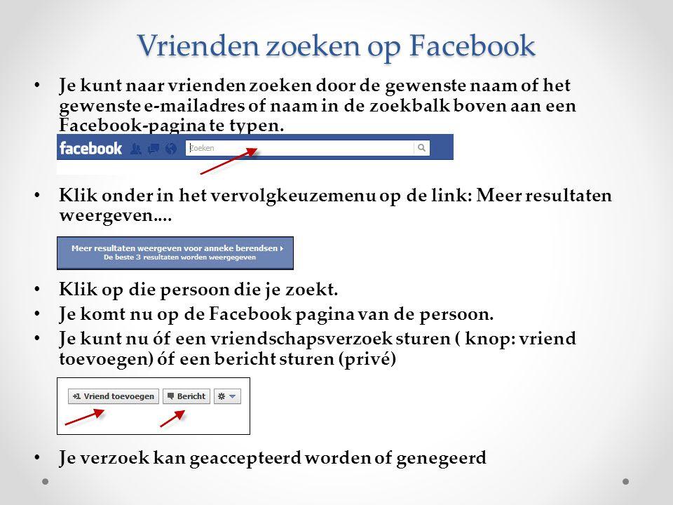 Vrienden zoeken op Facebook