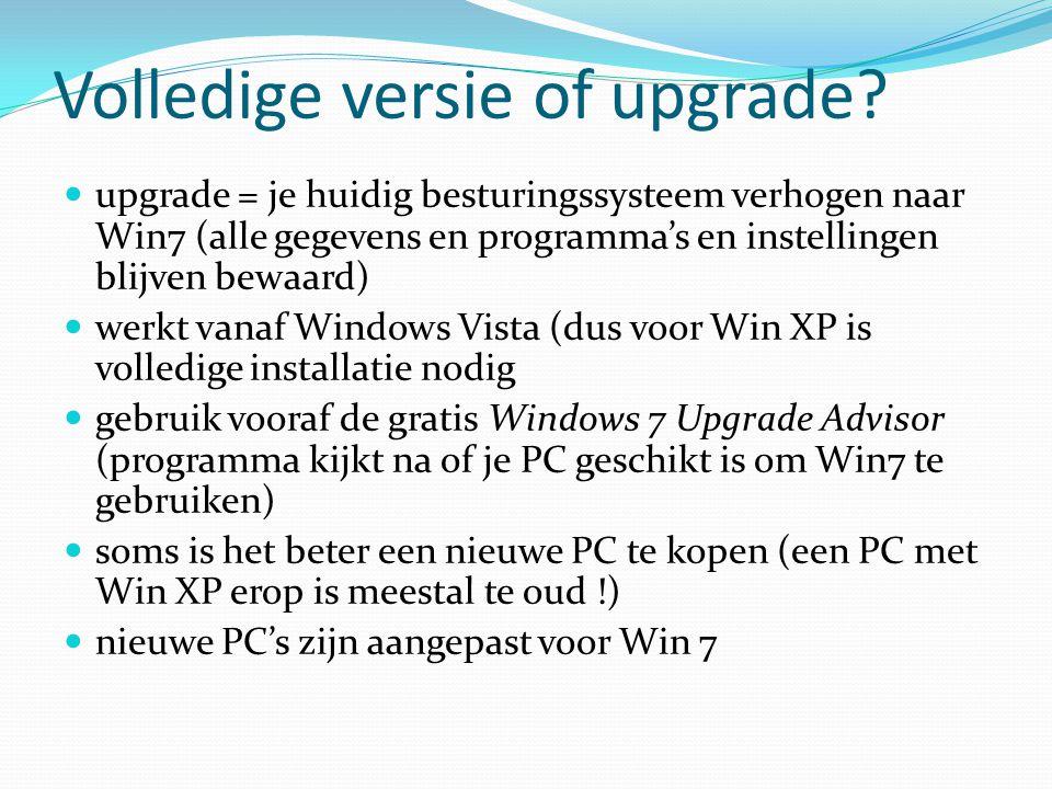 Volledige versie of upgrade