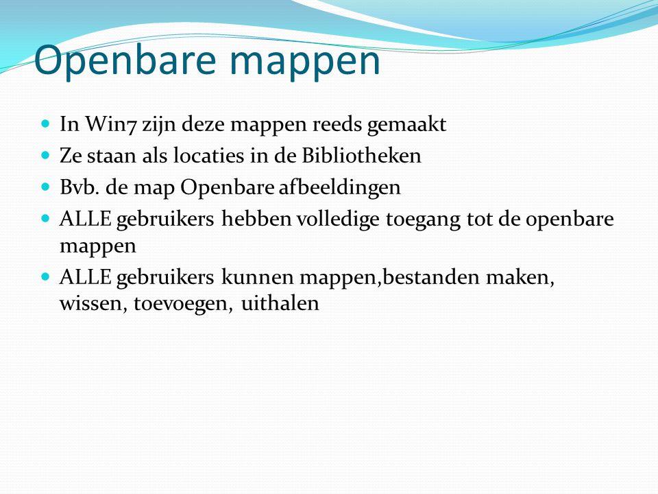 Openbare mappen In Win7 zijn deze mappen reeds gemaakt